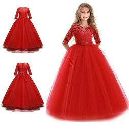 Red Lace Princess Girl Flower Dress Party Wedding Formal Gow