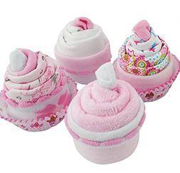 Baby Shower Gifts – Cupcake Set with Face Cloth, Baby Girl