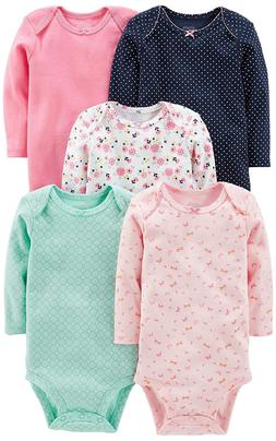 Simple Joys by Carter's Baby Girls' 5-Pack Long-Sleeve Bodys