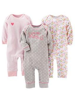 Simple Joys by Carter's Girls' 3-Pack Jumpsuits Outfits Sets