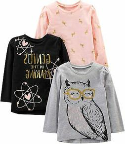 Simple Joys by Carter's Toddler Girls' 3-Pack Graphic Long-S