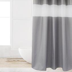 Eforcurtain Fashion Solid Gray Cloth Shower Curtain with Whi