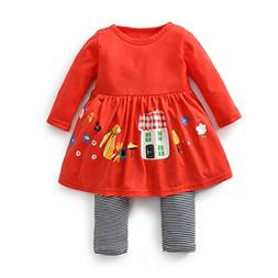 FERENYI Baby Girls Clothes Suit Cartoon Girl Long-Sleeved Dr