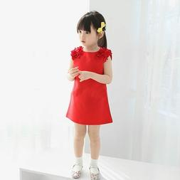 Summer Baby Kids Girls Flower Sleeveless Princess Dress Part