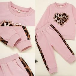 ❤️ Toddler Baby Girls Clothes Leopard Tops Hoodies Pants