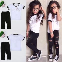 Toddler Babys Girls Clothes Tops Tee T-shirts & Jeans Casual
