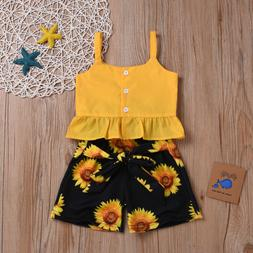 Toddler Baby Kid Girls Summer Clothes Ruffle Tops+Sunflower