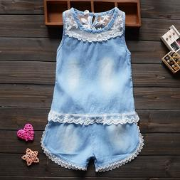 Toddler children summer baby girls clothing sets lace 2pcs g