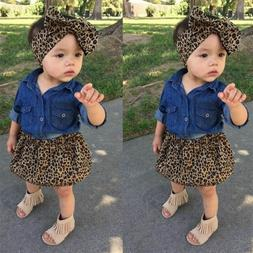 Toddler Clothing Denim Shirt Leopard Skirt Baby Girls Dress
