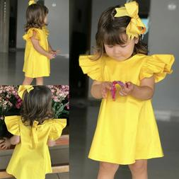 Toddler Infant Kids Summer Baby Girls Fly Sleeve Solid Bow D