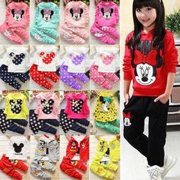 Toddler Kid Baby Girl Minnie Mouse Outfits Clothes 2Pcs Set