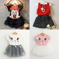 Toddler Kids Baby Girls Outfits Clothes T-shirt Tops + Tutu