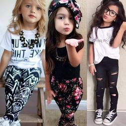 Toddler Kids Baby Girl Outfits Clothes T Shirt Tops Pants Ca
