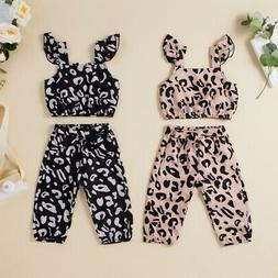 Toddler Kids Baby Girls Outfits Leopard T-shirt Tops Long Pa
