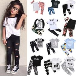 Toddler Kids Boy Girls T-shirt Tops+Long Pants 2Pcs Outfits