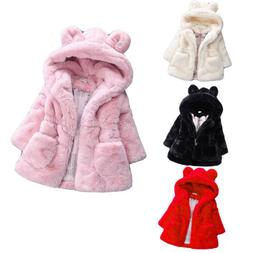 Toddler Kids Girl Baby Outerwear Faux Fur Hooded Winter Warm