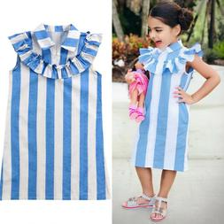 Toddlers Kids Baby Girls Sleeveless Casual Dress Clothes Par