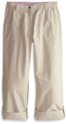 White Sierra Girls Trail Roll-Up Pant, Stone, Small