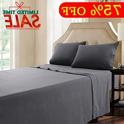 Twin XL Bed Sheet Set - 3 Piece Dark Grey - Brushed Microfib