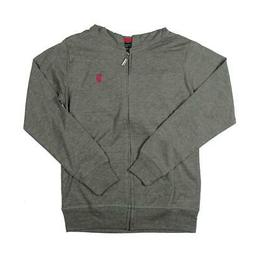 U.S. Polo Assn. Girls Gray Heathered Zip-Front Hoodie Jacket