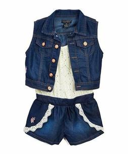 U.S. Polo Assn. Girls' Lace and Tencel Romper with Matching
