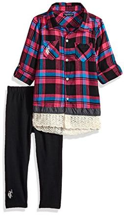 U.S. Polo Assn. Girls' Little Fashion Top and Legging Set, M