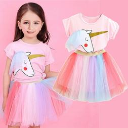 Unicorn Baby Girl Dress Party Costume Outfits Sets 2PCS Girl