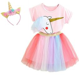 Unicorn Kids Girl Dress Party Costume Outfits Sets Baby Girl