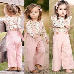 US 2PCS Toddler Kids Baby Girl Winter Clothes Floral Tops+Pa