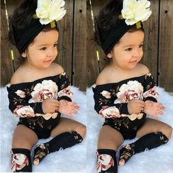 US 3PCS Newborn Baby Girl Off Shoulder Flower Romper+Leg War