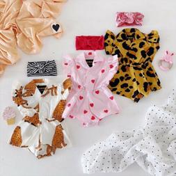 US Baby Girl Infant Flower Blouse Romper Bodysuit Jumpsuit O