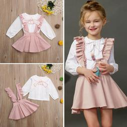 US Cute Toddler Kids Baby Girl Winter Clothes Ruffle Tops+Ov