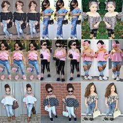 US Denim Toddler Baby Girl Lace Off Shoulder Crop Top Long P