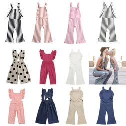 US Fashion Toddler Baby Girls Stripes Romper Bib Pants Overa