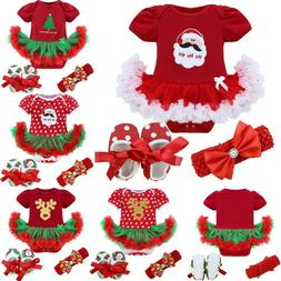 US Infant Baby Girls Christmas Outfit First Xmas Party Rompe