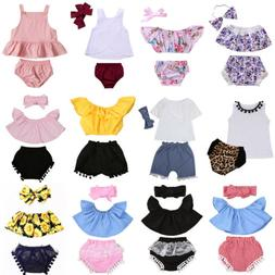 US Infant Toddler Baby Girl Clothes Romper Bodysuit+Headband