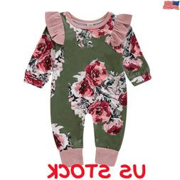 US Newborn Baby Girl Floral Clothes Long Sleeve Jumpsuit Rom