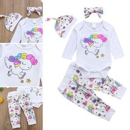 US Newborn Baby Girl Unicorn Romper Pants Legging Hat Headba