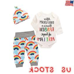 US Newborn Baby Girls Boys Outfit Clothes Romper Jumpsuit Bo