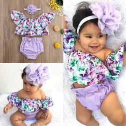 US Newborn Baby Girls Off Shoulder Floral Tops Shorts Briefs