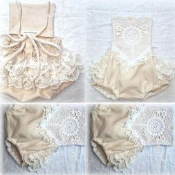 US Newborn Baby Hot Girl Clothing Lace Romper Bodysuit Jumps