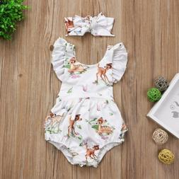US Newborn Infant Baby Girl Ruffle Deer Romper Bodysuit Jump