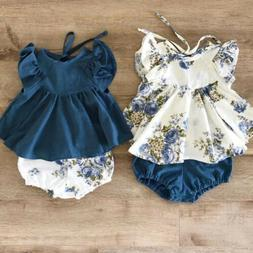 US Newborn Infant Toddler Baby Girl Floral Tops Dress+Short