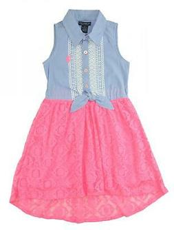 US Polo Assn Toddler/Little Girls' Sleeveless Hi-Lo Maxi Dre