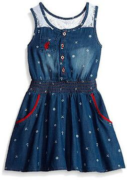 US Polo Assn Toddler/Little Girls' Sleeveless Denim Dress 2T