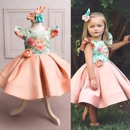 US Princess Kids Baby Girl Clothes Party Pageant Wedding Bri