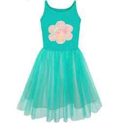 US Seller Sunny Fashion Girls Dress Tank Flower Tulle Skirt