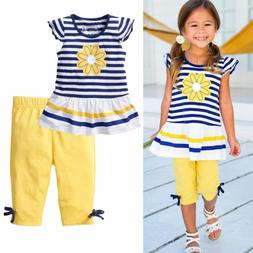 US Stock Baby Girls Kids Clothes Short Sleeves T-Shirt + Pan