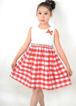 Sunny Fashion US STOCK! Girls Dress Red Tartan Sundress Kids
