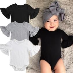 US STOCK Newborn Baby Girl Clothes Flared Sleeve Romper Jump